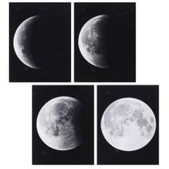 4pcs Modern Large Abstract Art Full Moon Space Black and White Pictures Canvas Oil Paintings for Home Office Decoration