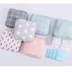 Sanitary Napkins Bag Zipper Tampons Collect Bags Pouch Organizer Cactus
