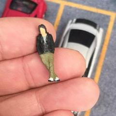 1/64 Characters Tiny Resin People Railway Road Diorama for Siku Black-C