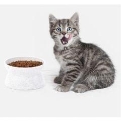 2 in 1 Bowls,Pet Dog Puppy Cat Kitten Dual Purpose Quantitative Bowl White