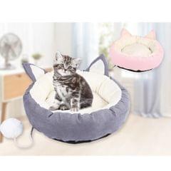 Pet Cat Dog Puppy Round Bed Soft Plush Warm House Nest Mat Cushion Gray M