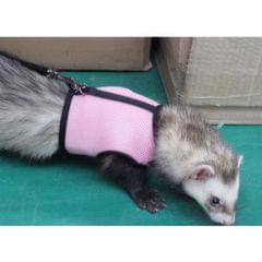 Hamster Rabbit Guinea Pig Rat Ferret Breathable Mesh Harness Leash Pink S