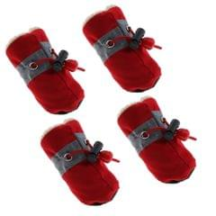 4Pcs/pack Pet Dog Puppy Shoes Outdoor Walk Non Slip Boots Booties Red S