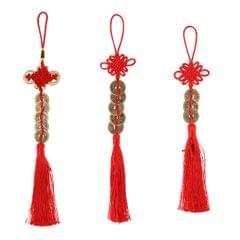 "2"" Chinese Knot Tassel Feng Shui Coins Pendant Lucky Amulet Car Inner Decor"