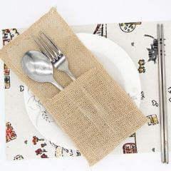 6pcs Burlap Knifes Forks Holders Cutlery Pouch Bag Party Tableware Favor