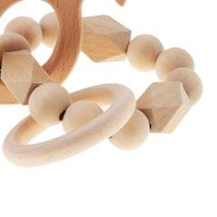 Safe Wooden Baby Teether Wood Teething Bracelet Rings Squirrel