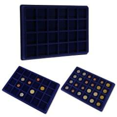 24 Grid Velvet Frame Series Display Tray Coin Case for Coin Display -Blue