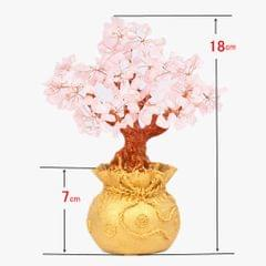 Mini Crystal Money Tree Bonsai Style Feng Shui Bring Wealth Luck Pink
