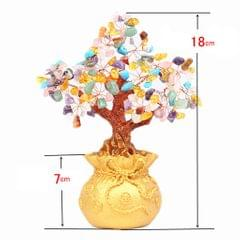 Mini Crystal Money Tree Bonsai Style Feng Shui Bring Wealth Luck Multi-Color