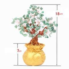 Mini Crystal Money Tree Bonsai Style Feng Shui Bring Wealth Luck Green