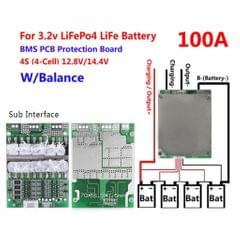 4S 100A 12V LiFePO4 Lithium Iron Phosphate LFP Battery Protection Board