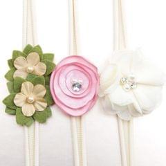 3x Baby Girls Elastic Headband Toddler Flower Headband Newborn Kids Beige