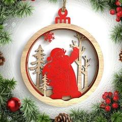3D Wooden Christmas Ornament Home Party Hanging Decor Santa Claus