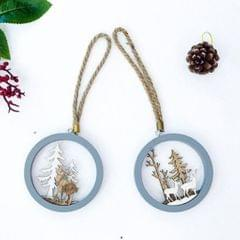 3D Hollow Wooden Pendant Christmas Ornament Xmas Tree Hanging Home Decor 2