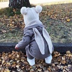 Cotton Big Ear Bunny Zipper Jumpsuit Climbing Clothes Gray (3-6 Months)