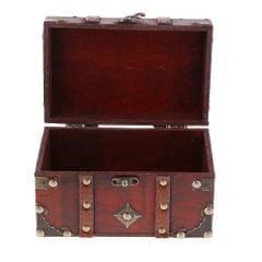 Antique Wooden Jewelry Storage Case Treasure Chest Box Home Table Decor A