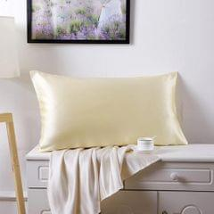 Mulberry Silk Pillowcase Both Sides Pillow Case Cover Queen Size Zipper Champagne