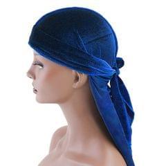 Men Lady Velvet Bandana Durag Headwear Silk Pirate Cap Wrap Hat Royal blue