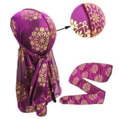 Men Women Silky Print Bandana Hat Durag Long Tail Headwrap Headwear Purple