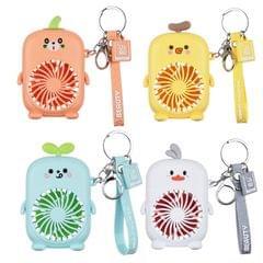 Handheld USB Student Dormitory Cartoon Portable Keychain Mini Pendant Fan(Orange)