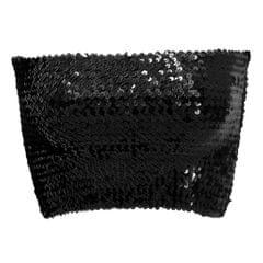Women Sequin Off Shoulder Tube Top Blouse Stretchy Chest Wrap Party Vest Black