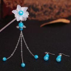 Dangle Hair Stick Chopstick Clip Flower Hairpin Chignon Pin Tassel Earrings Blue