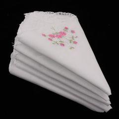 5pcs Womens White Flower Embroidery Cotton Lace Handkerchiefs Hanky 03