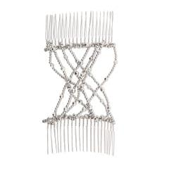 Womens Magic Hair Combs Beads Double Hair Clips Stretchy Hair Accessories Silver