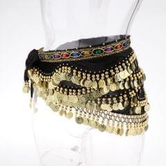 Velvet Dangling Gold Coins Belly Dancing Hip Skirt Scarf Wrap Belt Black