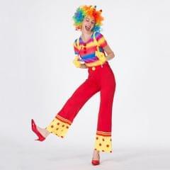 Funny Women Clown Costume Lady Circus Joker Jester Fancy Dress Outfit  XL