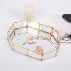 Metal Glass Jewelry Tray Makeup Cosmetic Organizer Storage Box Dessert Plate