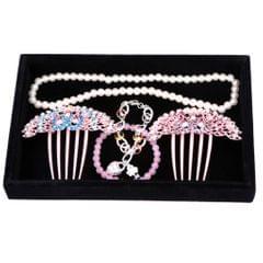 Velvet Necklace Bracelet Earring Anklet Jewelry Display Tray Case Black