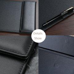 PU Leather A4 Clipboard Tablet Writting Pad Pen Clip Black