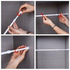 Telescoping Curtain Rods Metal Pole for Cupboard Utensils Cabinet White 55-90cm