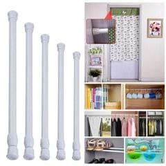 Telescoping Curtain Rods Metal Pole for Cupboard Utensils Cabinet White 30-50cm