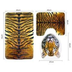 3 Pieces Flannel Toilet Lid Non Slip Bath Mat Bathroom Rug Set Tiger