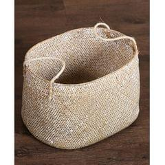 Seagrass Belly Basket Flower Planter Toy or Laundry Storage Basket  White S