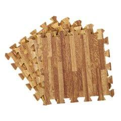 9Pieces Foam Puzzle Exercise Mat Interlocking Floor Tiles  Dark Wood Grain