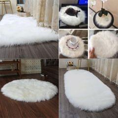 80x50cm Shaggy Sheepskin Rug Soft Non Shed Carpet Rug 5cm Pile White