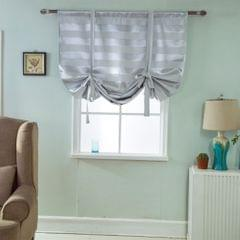 Blackout Tie Up Roman Window Curtain Shade Voile 46x63 Inch Grey