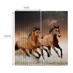 Set of 2 Panels Digital Printing 3D Curtains 140x100cm Horses