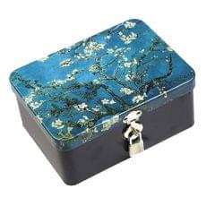 Locked tinplate Metal Collection Iron Storage Box  Van Gogh Apricot Flower