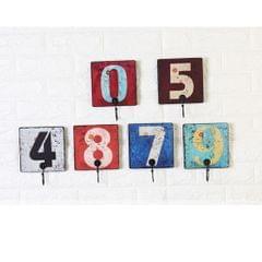 Wall Number Hooks Bathroom Door Hanger for Key Clothes Bag 15cm Number 1