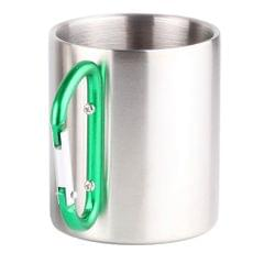 Carabiner Cups Camping Mug Outdoor Travel Metal Hiking Climbing 150ml Green