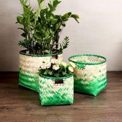 Handmade Bamboo Fiber Weaving Decorative Storage Basket Home Organizer S
