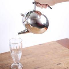 Stainless Steel Teapot Kitchen Tea Kettle Metal Tea Pot with Infuser 1L