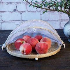 Bamboo Tent Basket Serving Food Outdoor Picnic Pop Up Mesh Net Cover L Round