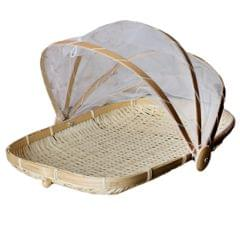 Bamboo Tent Basket Serving Food Outdoor Picnic Pop Up Mesh Net Cover S Rectangle