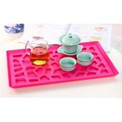 Plastic Plates Pierced Storage Tray Dish Drain Rack Fruits Holder Rose Red