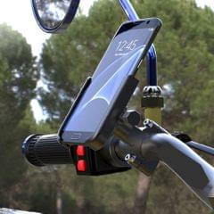 Universal Motorcycle Bike Bicycle Phone Holder Mount Handlebar Silver